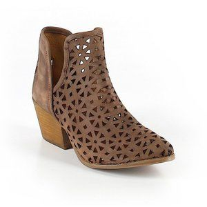 Brown Perforated Ankle Booties